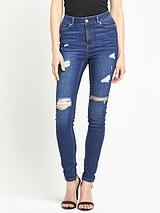 Petite High Waisted Distressed Skinny Jeans
