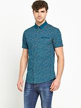 Mens Short Sleeve Contrast Collar Teal Print Shirt