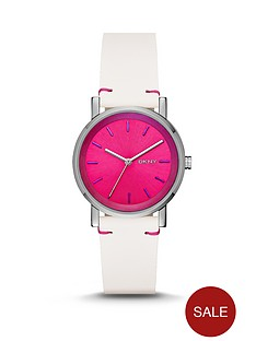 dkny-soho-pink-holographic-dial-white-leather-strap-ladies-watch