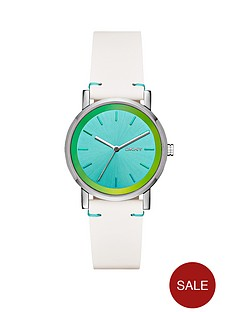 dkny-soho-turquoise-holographic-dial-white-leather-strap-ladies-watch