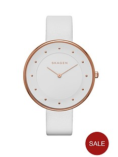 skagen-gitte-white-leather-strap-ladies-watch