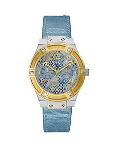 guess-jet-setter-silver-and-gold-tone-blue-leather-strap-ladies-watch
