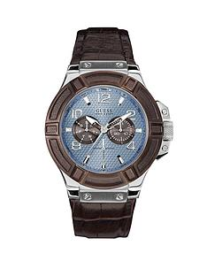 guess-rigor-blue-multi-function-dial-silver-tone-brown-leather-strap-mens-watch