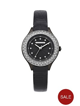 karen-millen-crystal-set-black-leather-strap-ladies-watch