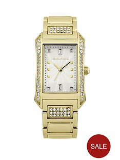 karen-millen-gold-plated-stainless-steel-crystal-set-square-ladies-watch