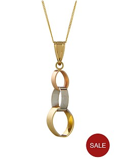 elements-9-carat-three-colour-gold-oval-linked-drop-necklace