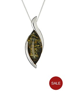 love-silver-sterling-silver-marquise-green-amber-pendant