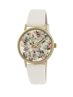 monsoon-gold-coloured-case-with-feather-dial-print-and-cream-strap-ladies-watch