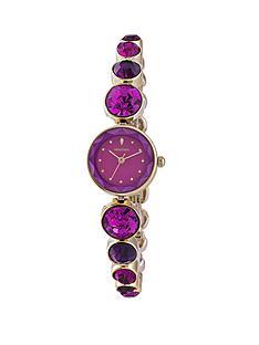 monsoon-gold-colour-case-purple-and-pink-stone-set-bracelet-ladies-watch