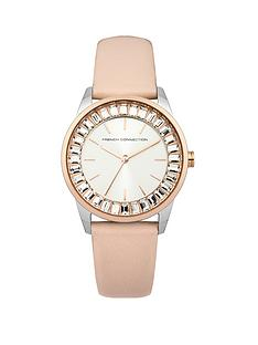 french-connection-cream-leather-strap-ladies-watch