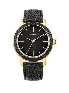 karen-millen-black-leather-strap-ladies-watch