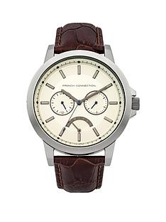 french-connection-brown-strap-mens-watch