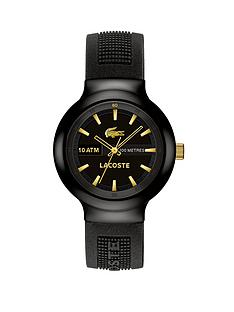 lacoste-classic-round-dial-gold-markers-black-resin-strap-mens-watch