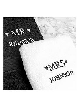 Personalised Mr & Mrs Towel Set  bath towel