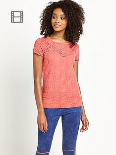 definitions-short-sleeve-sweetheart-lace-top