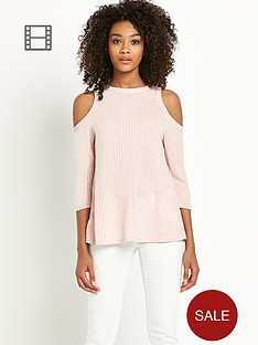 definitions-rib-lurex-cold-shoulder-top