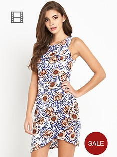 glamorous-twist-front-sleeveless-floral-dress