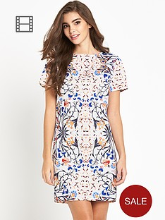 glamorous-floral-print-short-sleeve-shift-dress