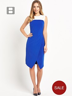 south-asymmetric-contrast-pencil-dress