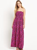 Petite Animal Print Smocked Maxi Dress
