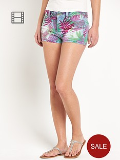 south-floral-print-denim-shorts