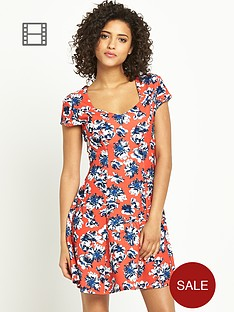south-sweetheart-neck-floral-print-dress