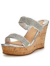Zanie Silver Diamanté Wedge Sandals