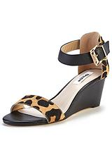 Katy Leopard Print Two Part Low Wedge Sandals