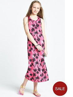 freespirit-girls-palm-tree-knot-back-maxi-dress