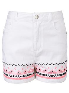 freespirit-girls-high-waisted-aztec-embroidered-shorts