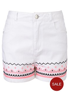 freespirit-girls-high-waisted-embroidered-shorts