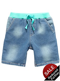 ladybird-boys-denim-look-jersey-mid-wash-chambray-shorts