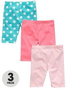 ladybird-girls-neon-spot-print-and-plain-cycling-shorts-3-pack-12-months-to-7-years