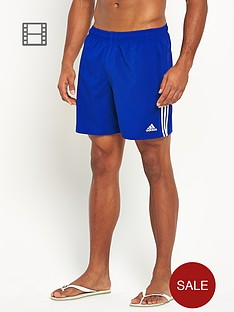 adidas-mens-3-stripe-solid-swim-shorts