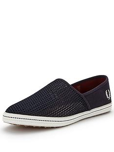 fred-perry-kingston-stampdown-mens-slip-on-plimsolls