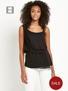 definitions-double-layer-chiffon-trim-top