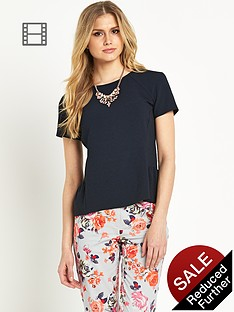 definitions-crepe-peplum-top-navy