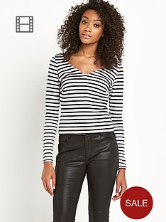 south-stripe-v-neck-long-sleeve-top
