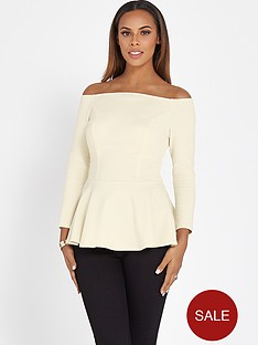 rochelle-humes-peplum-off-the-shoulder-top