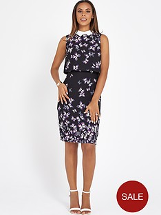 rochelle-humes-butterfly-printed-pencil-dress-with-white-collar