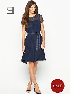 savoir-pleated-embellished-top-midi-dress