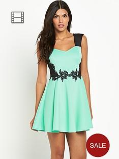 lipsy-sweetheart-lace-waist-skater-dress