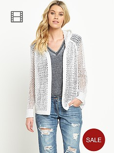 south-open-stitch-hooded-cardigan