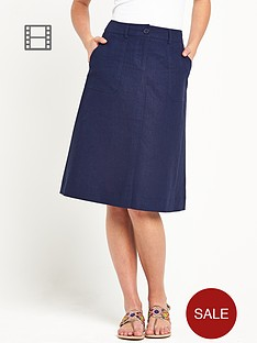 south-linen-knee-length-skirt-navy