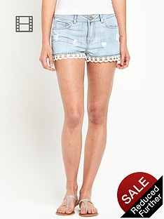 south-lace-hem-denim-shorts