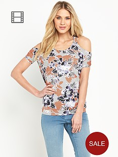 south-floral-cut-out-shoulder-top