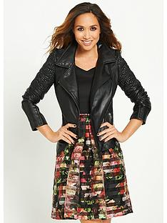 myleene-klass-embossed-detail-leather-jacket