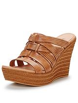 Melinda Woven Leather Wedge Sandals