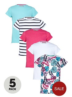 freespirit-girls-colour-stripe-and-floral-t-shirts-5-pack