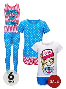 freespirit-girls-6-piece-nautical-pyjama-set